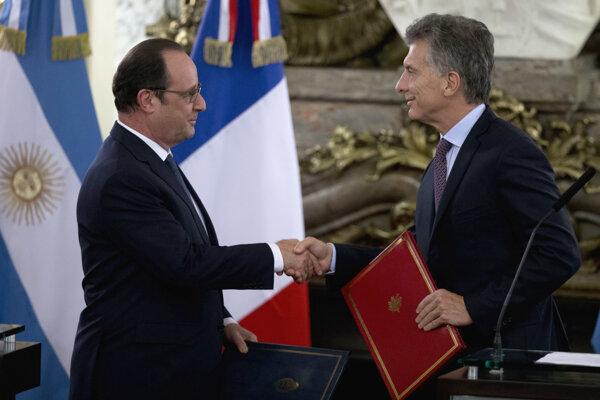 Francois Hollande a Mauricio Macri.