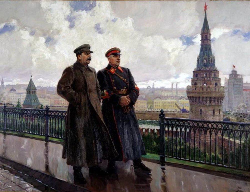 A.M.Gerasimov: J.V. Stalin a K.J. Vorošilov v Kremli 1938