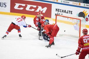 Momentka zo zápasu Rusko - Bielorusko na turnaji Kaufland Cup 2019.