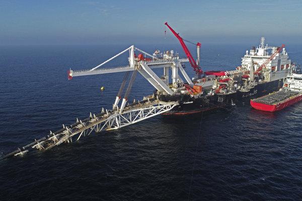 Práce na plynovode Nord Stream 2 v Baltskom mori.