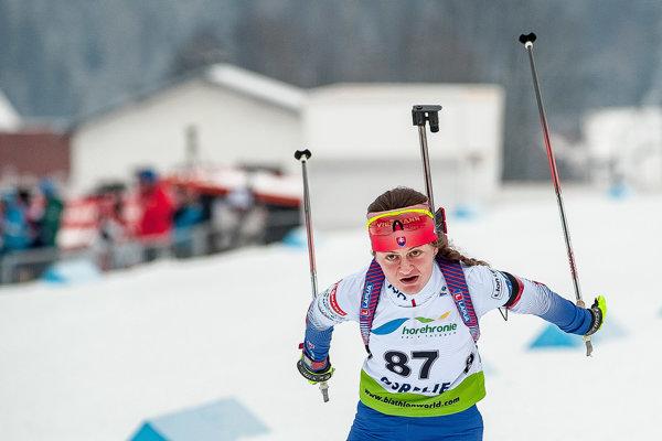 Na snímke slovenská reprezentantka Barbora Horniaková v cieli vytrvalostného preteku kadetiek na 10 km na Majstrovstvách sveta juniorov a kadetov v biatlone v Osrblí 27. januára 2019 - ilustračná fotografia.