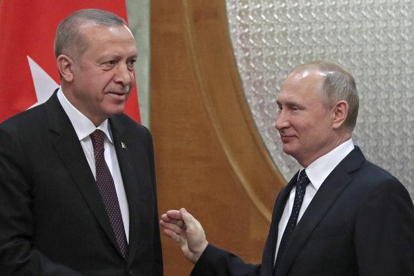 Ruský prezident Vladimir Putin a turecký prezident Recep Tayyip Erdogan.