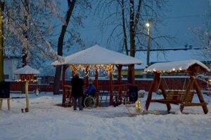 Zimný mestský park v Šahách.