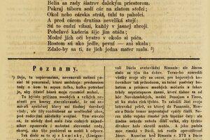 Pôvodné vydanie básne z februára 1864 v časopise Sokol.