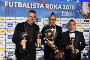Zľava Milan Škriniar, Marek Hamšík a Stanislav Lobotka.