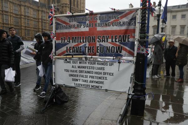 Viac ako sedemnásť miliónov občanov hlasovalo za brexit, pripomínajú demonštranti.