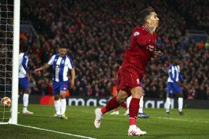 Roberto Firmino sa teší zo svojho gólu.