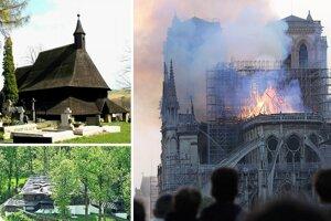 Drevený kostolík v Tvrdošíne (vľavo hore), drevený kostolík v Leštinách (vľavo dole) a požiarom poškodená slávna parížska katedrála.