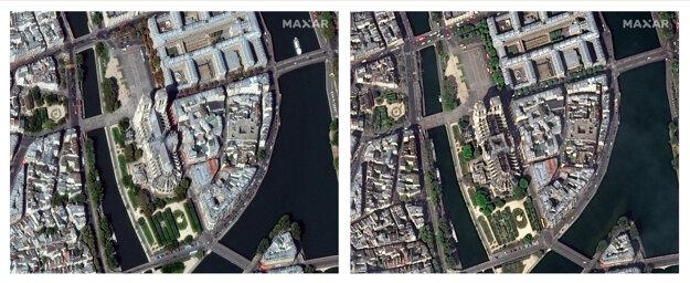 Satelitné snímky pred a po požiari.