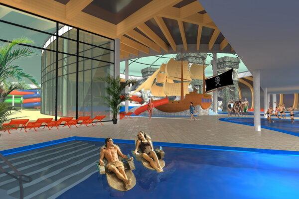 Vizualizácia pôvodne plánovaného akvaparku na Zelenej vode.