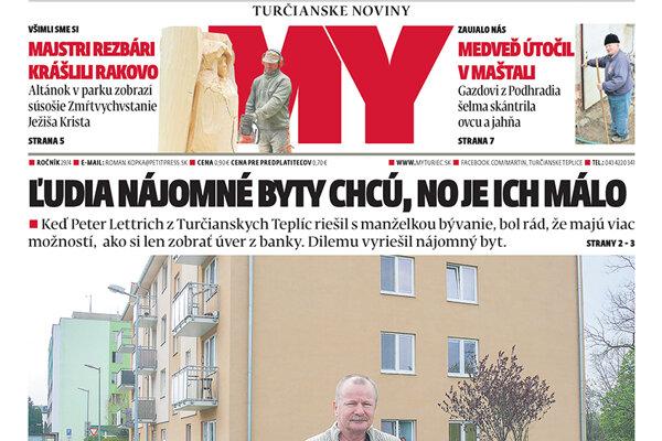 Titulka MY Turčianskych novín na tento týždeň.