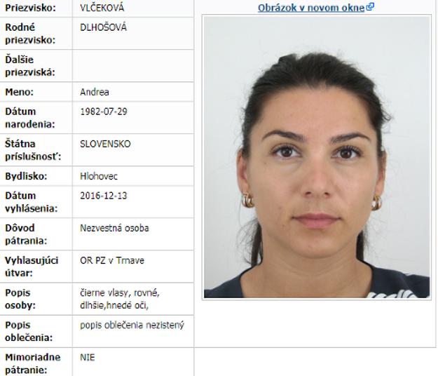Nezvestnú Adrianu Vlčekovú hľadá polícia.