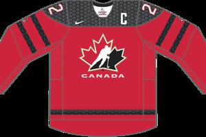 Dres Kanady určený pre zápasy, v ktorých je napísaná ako hosťujúci tím.