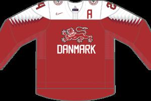 Dres Dánska určený pre zápasy, v ktorých je napísané ako hosťujúci tím.