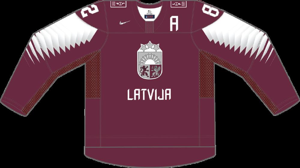 e5afee85df929 Dres Lotyšska určený pre zápasy, v ktorých je napísané ako hosťujúci tím.
