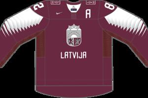 Dres Lotyšska určený pre zápasy, v ktorých je napísané ako hosťujúci tím.