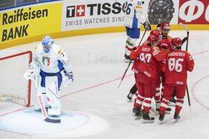 Momentka zo zápasu Rusko - Taliansko na MS v hokeji 2019.