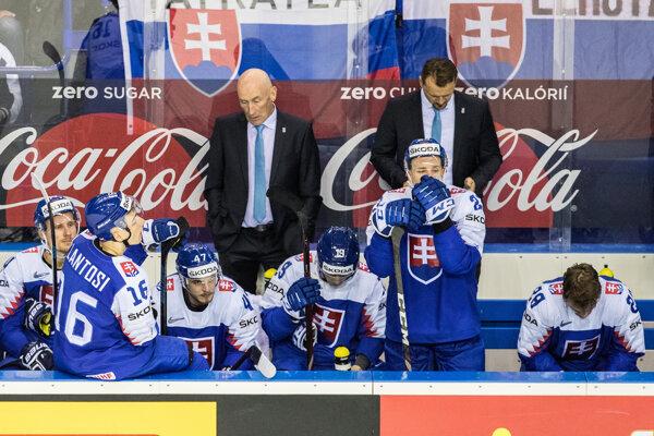 Slovenskí hokejisti počas MS v hokeji 2019.