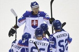 Slovenskí hokejisti v zápase Slovensko - Dánsko na MS v hokeji 2019.