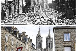 Kostol mesta St. Hilaire Du Harcouet vtedy a dnes.