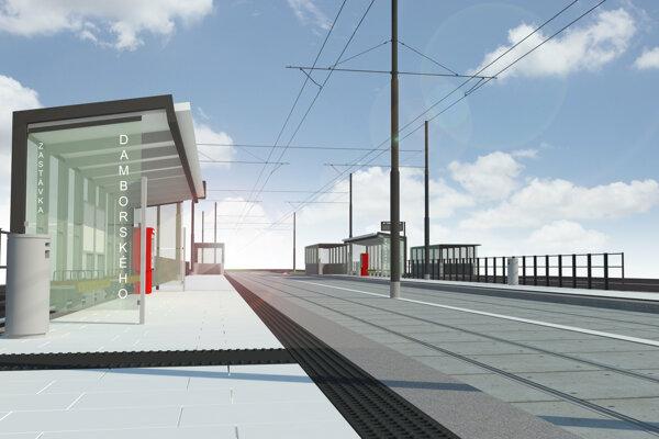 Takto bude po rekonštrukcii električkovej trate vyzerať zastávka na Damborského ulici v Bratislave.