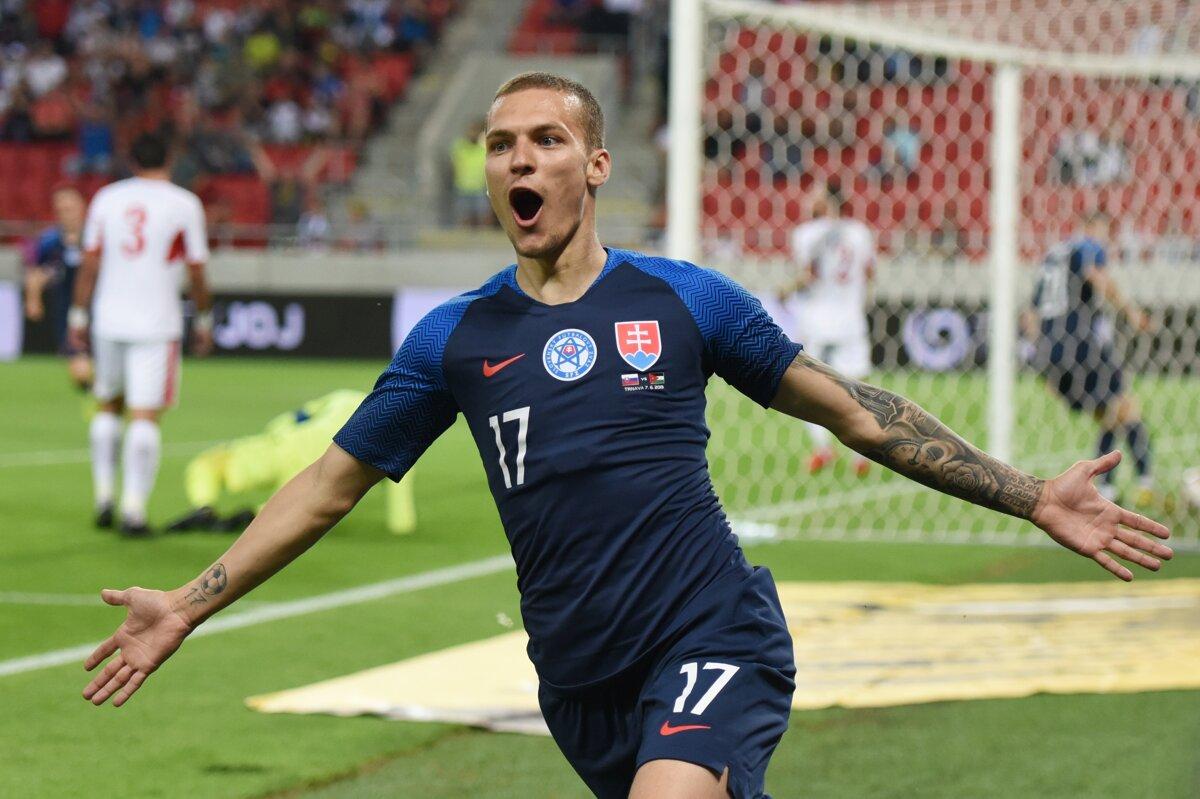 3e8815e693180 Lukáš Haraslín po strelenom góle v prípravnom zápase Slovensko - Jordánsko.