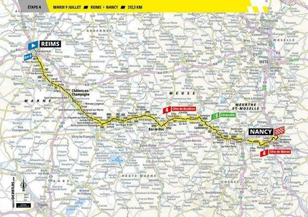 Trasa 4. etapy Tour de France 2019.