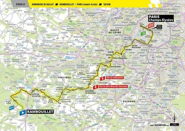 Trasa 21. etapy Tour de France.