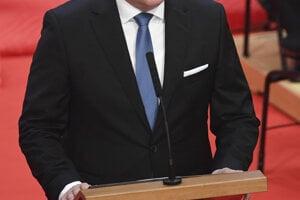 Andrej Danko hovorí počas slávnostnej schôdze NR SR pri príležitosti zloženia sľubu prezidentky SR Zuzany Čaputovej .