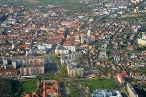 Letecký pohľad na Lučenec.