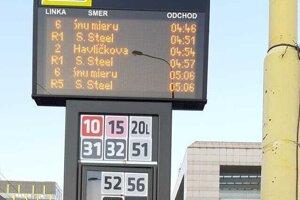 Na autobusovej zastávke informuje nové zariadenie o odchodoch električiek. V opačnom smere.