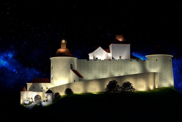 Vizualizácia nočného osvetlenia hradného komplexu Krásna Hôrka.
