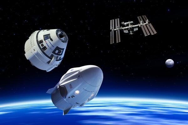 Vizualizácia kapsúl Dragon 2 a Starliner pri medzinárodnej vesmírnej stanici. NASA musela odložiť testovacie lety SpaceXu aj Boeingu.