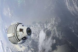 Vizualizácia Starliner CST-100 na obežnej dráhe Zeme.