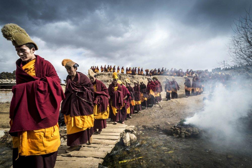 Budhistický náboženský sviatok Monlam, Taktsang Lhamo vo východnom Tibete.