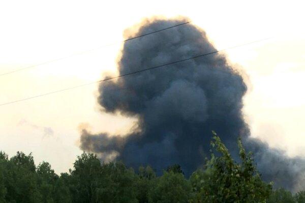 Dym po výbuchu na ruskej základni.