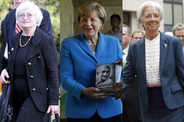 Zľava: Janet Yellenová, Angela Merkelová, Christine Lagardová