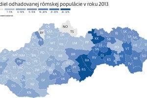 Podiel odhadovanej rómskej populácie v roku 2013.