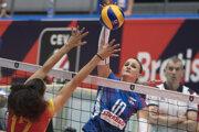 Nina Herelová v zápase Slovensko - Španielsko na ME vo volejbale 2019.
