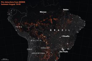 Tento rok je aktivita požiarov v brazílskej časti Amazonského pralesa najvyššia od roku 2010. Táto mapa ukazuje detekcie aktívnych požiarov v období od 15. do 22. augusta.