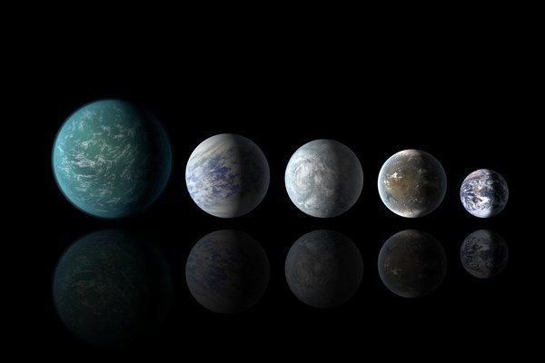 Zľava doprava: Kepler-22b, Kepler-69c, Kepler-62e, Kepler-62f a Zem.