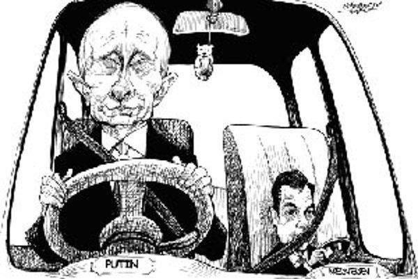 Terčom ruských karikaturistov často býva duo Putin - Medvedev.