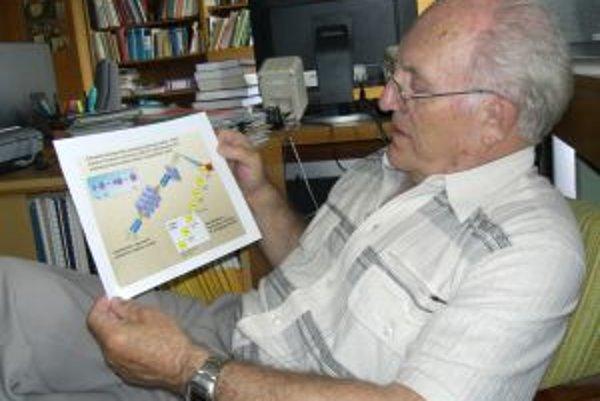 Profesor Štefan Šáro so schematickým zobrazením rozpadu nového prvku s číslom 112.