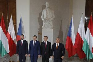 Premiéri krajín V4, zľava: Peter Pellegrini, Mateusz Morawiecki, Andrej Babiš a Viktor Orbán.