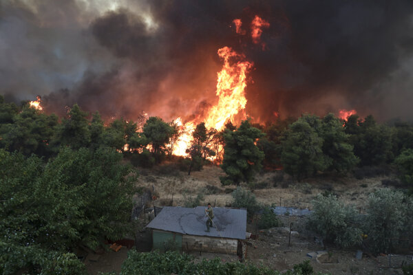 Na snímke lesný požiar v obci Makrimalli na ostrove Euboia (Evia) v Egejskom mori 13. augusta 2019.