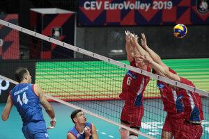 Momentka zo zápasu Srbsko - Česko na ME vo volejbale mužov 2019.