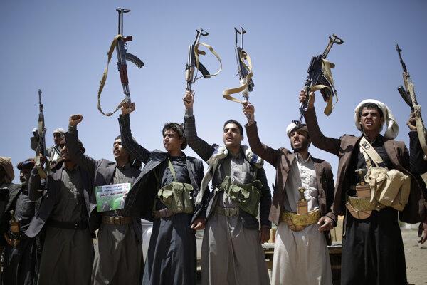Húsíovskí rebeli. 21. september 2019, Saná, Jemen.