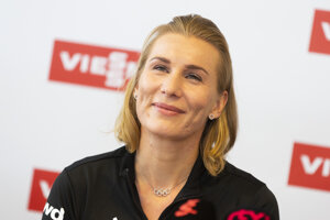 Slovenská biatlonistka Anastasia Kuzminová počas tlačovej konferencie Slovenského zväzu biatlonu v Bratislave 2. októbra 2019 na ktorej definitívne ukončila aktívnu kariéru.