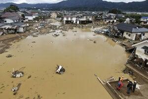 Japonské mesto Nagano po tom, ako ho zasiahol tajfún Hagibis.