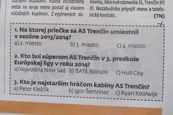 Súťažné kupóny treba priniesť alebo zaslať na adresu redakcie MY Trenčianske noviny.
